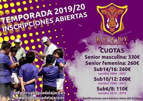El Rugby Guadalajara abre su periodo de inscripción para la temporada 2019-2020