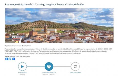 La Junta pregunta a la ciudadanía sobre cuestiones a incluir en la Estrategia Regional frente a la Despoblación